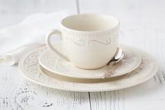 Κενά φλυτζάνι και κουτάλι καφέ Στοκ Εικόνα