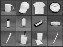 Κενά χαρτικά που τίθενται για το εταιρικό σύστημα ταυτότητας στο γκρίζο backg Στοκ εικόνα με δικαίωμα ελεύθερης χρήσης