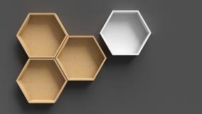 Κενά hexagons ξύλινα ράφια στοκ εικόνα