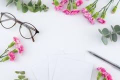 Κενές άσπρες κάρτες, γυαλιά και μάνδρα Στοκ Εικόνες
