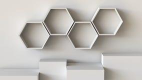 Κενές άσπρες hexagons ράφια και εξέδρα κιβωτίων κύβων στο υπόβαθρο τοίχων τρισδιάστατη απόδοση ελεύθερη απεικόνιση δικαιώματος