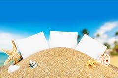 Κενές κάρτες στην παραλία άμμου με τα κοχύλια θάλασσας Στοκ φωτογραφία με δικαίωμα ελεύθερης χρήσης