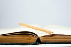 Κενές, παλαιές, κίτρινες ανοιγμένες σελίδες βιβλίων Στοκ φωτογραφία με δικαίωμα ελεύθερης χρήσης