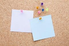 Κενές σημειώσεις και πολύχρωμες πινέζες Στοκ εικόνα με δικαίωμα ελεύθερης χρήσης