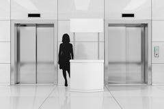 Κενές στάσεις προώθησης με τη σκιαγραφία γυναικών κοντά σε σύγχρονο Elevato ελεύθερη απεικόνιση δικαιώματος