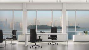 Κενές σύγχρονες γραφείο, νησί και μητρόπολη με τους ουρανοξύστες έξω από το μεγάλο παράθυρο Πιάτο υποβάθρου, βασικό βίντεο χρώματ απόθεμα βίντεο