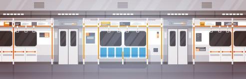 Κενές υπογείων δημόσιες συγκοινωνίες πόλεων αυτοκινήτων εσωτερικές σύγχρονες, υπόγειο τραμ Στοκ Φωτογραφία