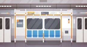 Κενές υπογείων δημόσιες συγκοινωνίες πόλεων αυτοκινήτων εσωτερικές σύγχρονες, υπόγειο τραμ Στοκ εικόνες με δικαίωμα ελεύθερης χρήσης
