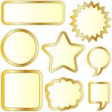 κενές χρυσές αυτοκόλλητες ετικέττες φυσαλίδων κατασκευασμένες Στοκ φωτογραφία με δικαίωμα ελεύθερης χρήσης