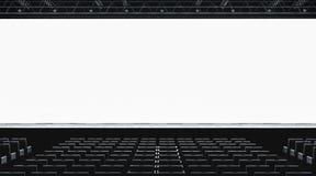 Κενή άσπρη μεγάλη οθόνη στο πρότυπο αιθουσών παρουσίασης, μπροστινή άποψη στοκ φωτογραφία