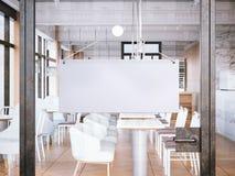 Κενή άσπρη πινακίδα στην είσοδο στο εστιατόριο τρισδιάστατη απόδοση Στοκ Φωτογραφίες