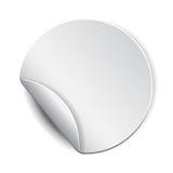 Κενή, άσπρη στρογγυλή προωθητική αυτοκόλλητη ετικέττα Στοκ Εικόνες
