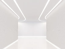 Κενή άσπρη σύγχρονη διαστημική εσωτερική τρισδιάστατη δίνοντας εικόνα δωματίων διανυσματική απεικόνιση
