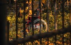 Κενή αναπηρική καρέκλα στον ακατάστατο κήπο στο ηλιοβασίλεμα, πυροβολισμός μέσω των φραγμών Στοκ φωτογραφίες με δικαίωμα ελεύθερης χρήσης
