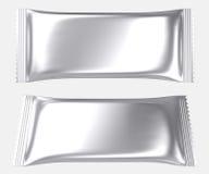 Κενή ασημένια πλαστική τσάντα σακουλών φύλλων αλουμινίου διανυσματική απεικόνιση