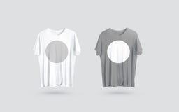 Κενή γκρίζα και άσπρη μπροστινή πλάγια όψη μπλουζών, πρότυπο σχεδίου Στοκ Φωτογραφίες