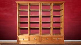 Κενή διπλή ξύλινη βιβλιοθήκη με τα ράφια