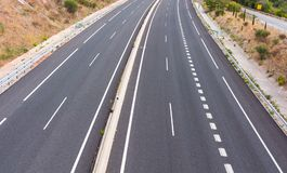 Κενή εθνική οδός στην Ισπανία Στοκ Φωτογραφία