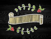 Κενή εκλεκτής ποιότητας κορδέλλα γύρω από το έμβλημα στο ύφος doodle, χλεύη προτύπων Στοκ Φωτογραφίες