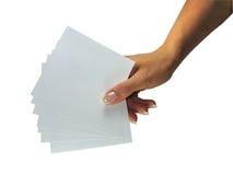 κενή εμφάνιση γυναικείου εγγράφου χεριών ανθρώπινη στοκ εικόνες