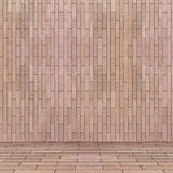 Κενή εσωτερική προοπτική με τον τοίχο κεραμιδιών τούβλου Στοκ Εικόνα