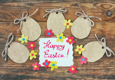 Κενή ετικέτα εγγράφου Πάσχας, η μορφή των αυγών, ζωηρόχρωμο applique φ Στοκ φωτογραφίες με δικαίωμα ελεύθερης χρήσης