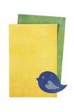 Κενή ευχετήρια κάρτα με το πουλί εγγράφου στο άσπρο υπόβαθρο στοκ φωτογραφία με δικαίωμα ελεύθερης χρήσης