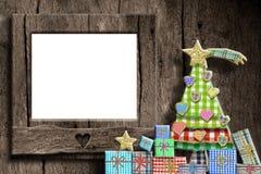 Κενή ευχετήρια κάρτα πλαισίων φωτογραφιών Χριστουγέννων Στοκ Εικόνες