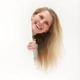 κενή ζωηρή γυναίκα αφισών εκμετάλλευσης Στοκ Φωτογραφίες