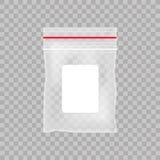 Κενή διαφανής πλαστική τσάντα τσεπών Κενή κενή τσάντα φερμουάρ στο διαφανές υπόβαθρο επίσης corel σύρετε το διάνυσμα απεικόνισης Στοκ Εικόνες