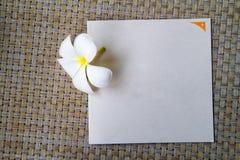 Κενή κάρτα με το λουλούδι plumeria και το υπόβαθρο καλαθοπλεχτικής Στοκ φωτογραφίες με δικαίωμα ελεύθερης χρήσης