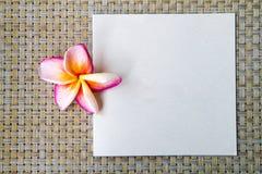 Κενή κάρτα με το λουλούδι plumeria και το υπόβαθρο καλαθοπλεχτικής Στοκ Φωτογραφία