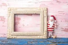 Κενή κάρτα πλαισίων φωτογραφιών Santa Χριστουγέννων Copyspace Στοκ φωτογραφίες με δικαίωμα ελεύθερης χρήσης