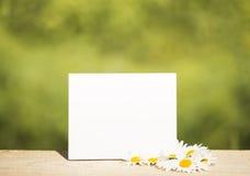 Κενή κάρτα στην ξύλινη επιτραπέζια προοπτική και το πράσινο θολωμένο bokeh υπόβαθρο Στοκ φωτογραφίες με δικαίωμα ελεύθερης χρήσης