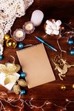Κενή κάρτα Χριστουγέννων εγγράφου copyspace του χειμώνα και των Χριστουγέννων ομο Στοκ Φωτογραφία