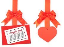 κενή κορδέλλα καρτών τόξων Στοκ φωτογραφία με δικαίωμα ελεύθερης χρήσης