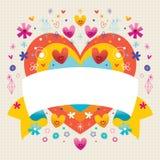 Κενή κορδέλλα με τις χαριτωμένες καρδιές Στοκ φωτογραφία με δικαίωμα ελεύθερης χρήσης