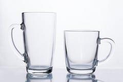 Κενή κούπα καφέ γυαλιού latte, πρότυπο φλυτζανιών Στοκ Εικόνες