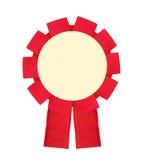 Κενή κόκκινη ροζέτα κορδελλών βραβείων κερδίζοντας που απομονώνεται στο λευκό Στοκ Εικόνες