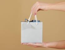 Κενή μπλε τσάντα δώρων εγγράφου με τη χλεύη καρδιών επάνω στην εκμετάλλευση υπό εξέταση Ε στοκ εικόνες