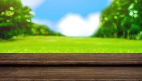 Κενή ξύλινη επιτραπέζια κορυφή βημάτων με το δέντρο θαμπάδων στο πάρκο με το bokeh ligh Στοκ εικόνα με δικαίωμα ελεύθερης χρήσης