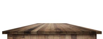 Κενή ξύλινη επιτραπέζια προοπτική με το ψαλίδισμα της μάσκας Στοκ Φωτογραφίες