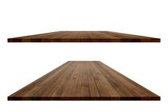 Κενή ξύλινη επιτραπέζια προοπτική με το ψαλίδισμα της πορείας Στοκ φωτογραφία με δικαίωμα ελεύθερης χρήσης