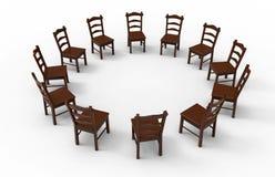 Κενή ξύλινη συνεδρίαση των καρεκλών απεικόνιση αποθεμάτων