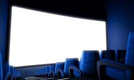 Κενή οθόνη κινηματογράφων με τα μπλε καθίσματα ευρέως τρισδιάστατος δώστε στοκ εικόνα