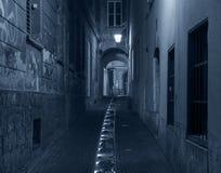 Κενή οδός τη νύχτα, Λουμπλιάνα, Σλοβενία Στοκ Φωτογραφίες