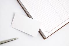 κενή πέννα ημερολογίων επαγγελματικών καρτών Στοκ εικόνα με δικαίωμα ελεύθερης χρήσης