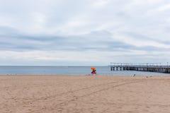 Κενή παραλία στο Coney Island, Νέα Υόρκη στοκ φωτογραφία