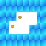 Κενή πιστωτική κάρτα τσιπ στο αφηρημένο μπλε υπόβαθρο Στοκ Φωτογραφία
