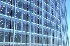 Κενή πρόσοψη γυαλιού του κυρτού κτιρίου γραφείων απεικόνιση αποθεμάτων